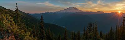 Mt Rainier Sunset Glow Poster