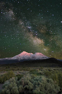 Mt Shasta With Milky Way#2 Poster by Keith Marsh