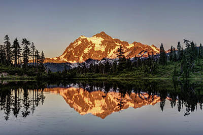 Poster featuring the photograph Mt Shuksan Reflection by Pierre Leclerc Photography