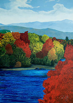 Mt Washington From The Saco River Poster by Paul Gaj