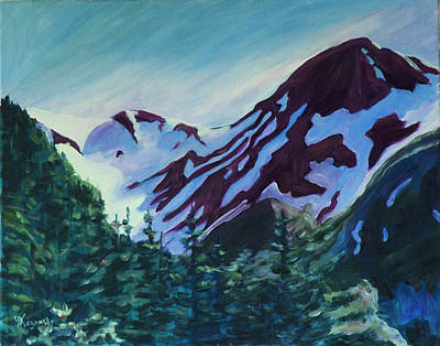 Poster featuring the painting Mt.roberts Juneau Alaska by Yulia Kazansky