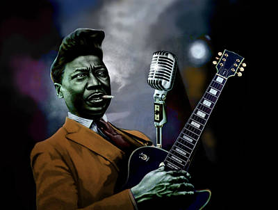 Poster featuring the mixed media Muddy Waters - Mick Jagger's Grandfather by Dan Haraga