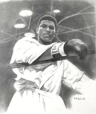 Poster featuring the drawing Young Cassius Clay by Noe Peralez