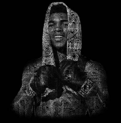 Muhammad Ali Or Cassius Clay Text Portrait - Typographic Face Poster Poster by Jose Elias - Sofia Pereira