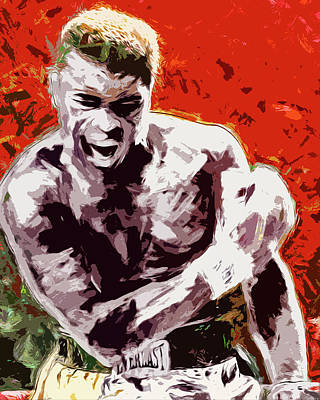 Muhammed Ali Boxing Champ Digital Paintng Poster by David Haskett