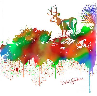 Mule Deer Buck Skyline Drip Pop Art II Poster