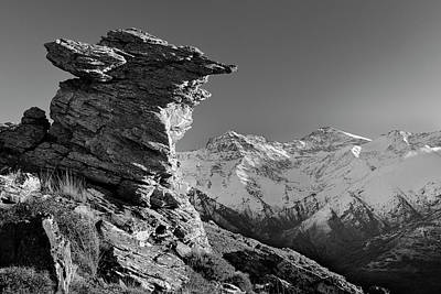 Mulhacen 3479 Meters And Alcazaba 3315 Meters Bw Poster