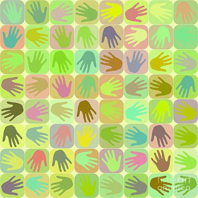 Multicolored Hands Pattern Poster by Gaspar Avila