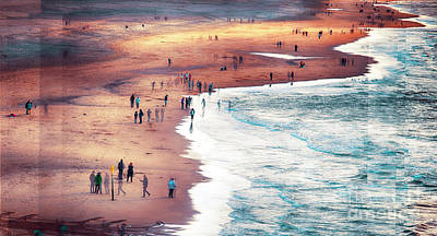 Poster featuring the photograph multiple exposure of people on North sea beach  by Ariadna De Raadt