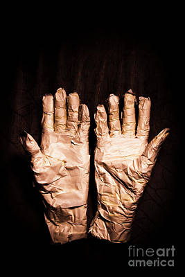 Mummy's Hands Over Dark Background Poster