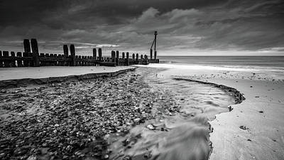 Poster featuring the photograph Mundesley Beach - Mono by James Billings