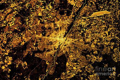 Munich Abstract City Map Golden Poster by Frank Ramspott