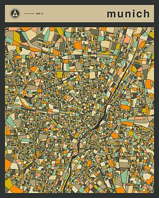 Munich City Map Poster by Jazzberry Blue