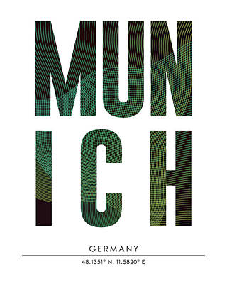 Munich City Print With Coordinates Poster