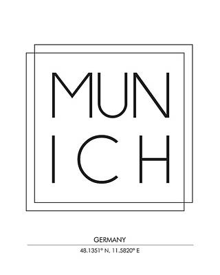 Munich City Prints With Coordinates Poster