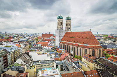 Munich Cityscape From City Hall Poster by JJF Architects