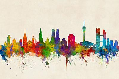 Munich Germany Skyline Poster by Michael Tompsett