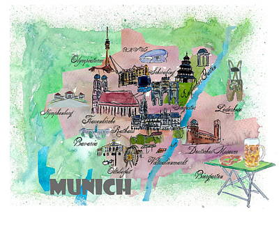 Munich Map Overview Best Of Typical Highlights Active Poster by M Bleichner