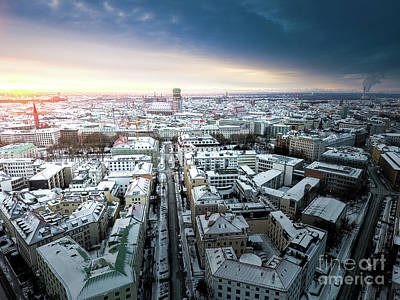 Poster featuring the photograph Munich - Sunrise At A Winter Day by Hannes Cmarits