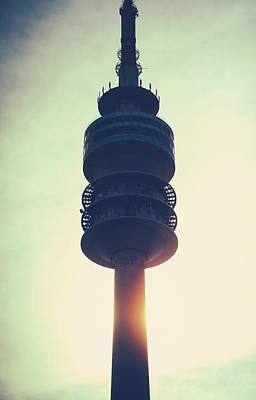 Munich Olympiaturm At Sunset Poster