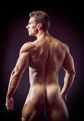 Muscular Totally Naked Man Facing Back Poster by Stefano Cavoretto