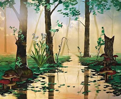 Mushroom Forest Poster by Digital Art Cafe