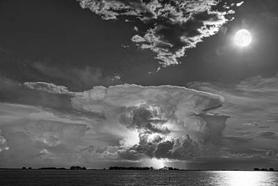 Mushroom Thunderstorm Cell Explosion And Full Moon Bw Poster
