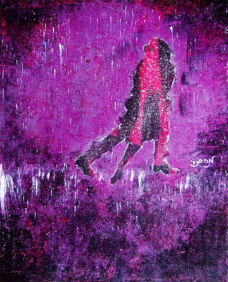 Music Inspired Dancing Tango Couple In Purple Rain Contemporary Lyrical Splattered And Emotional Poster by M Zimmerman