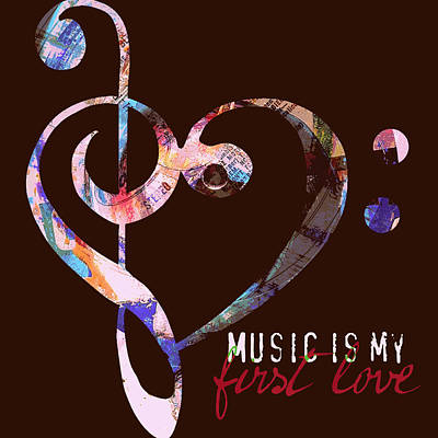 Music Is My First Love V2 Poster by Brandi Fitzgerald