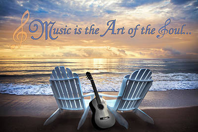 Music Is The Art Of The Soul Poster by Debra and Dave Vanderlaan