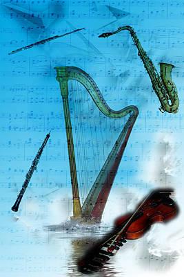 Poster featuring the digital art Musical Instruments by Angel Jesus De la Fuente