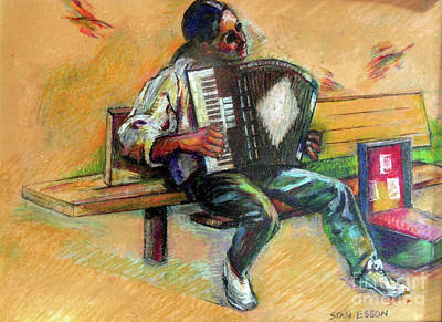 Poster featuring the drawing Musician With Accordion by Stan Esson