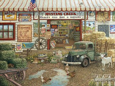 Mustang Creek Feed Store Poster by Janet Kruskamp