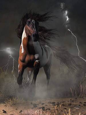 Mustang Horse In A Storm Poster