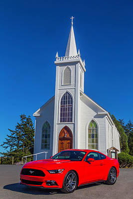 Mustang In Front Of Church Poster by Garry Gay