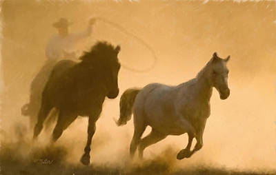 Mustang Roundup Poster by Kathie Miller