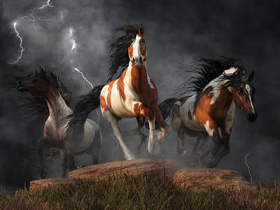 Poster featuring the digital art Mustangs Of The Storm by Daniel Eskridge