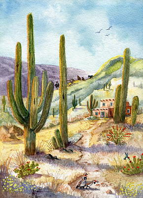 Poster featuring the painting My Adobe Hacienda by Marilyn Smith