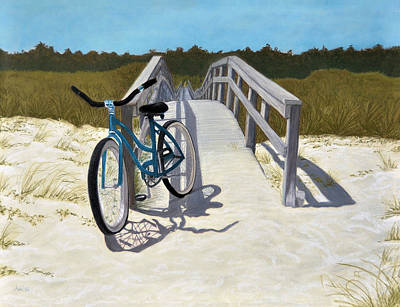 Poster featuring the pastel My Blue Bike by Jan Amiss