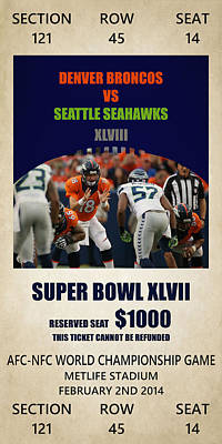 My Denver Broncos Super Bowl 48 Ticket Poster