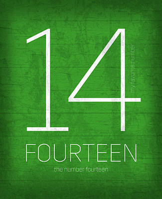 My Favorite Number Is Number 14 Series 014 Fourteen Graphic Art Poster by Design Turnpike
