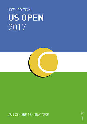 Poster featuring the digital art My Grand Slam 04 Us Open 2017 Minimal Poster by Chungkong Art