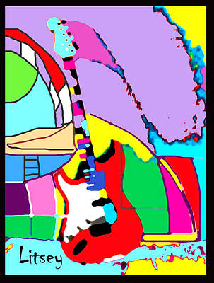 My Guitar Gently Weeps Poster by International Artist Brent Litsey