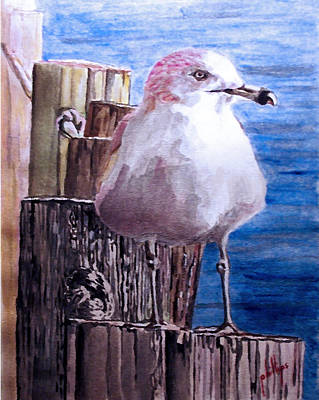 Poster featuring the painting My Gull by Jim Phillips