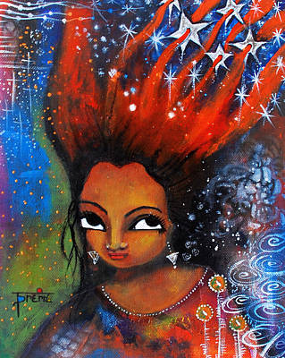 Poster featuring the mixed media My Hair Is Being Pulled By The Stars  by Prerna Poojara