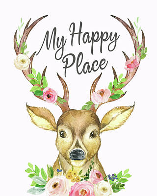 My Happy Place Woodland Boho Deer Poster