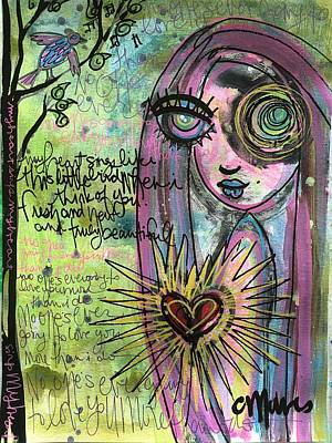Poster featuring the painting My Heart Sings Like This Little Bird by Laurie Maves ART