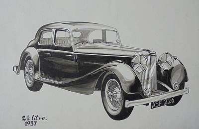 Poster featuring the drawing My Old Jag. by Mike Jeffries