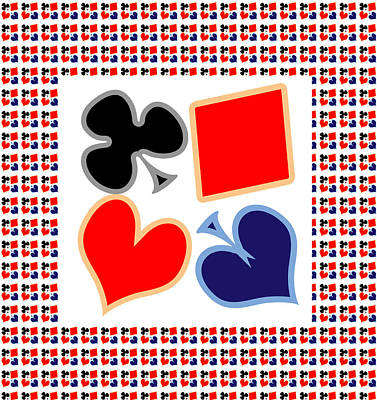 My Poker Room Decorations  Heart Spade Clubs Diamond Card Games Collection Poster by Navin Joshi
