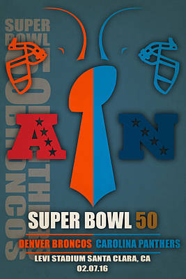 My Super Bowl 50 Broncos Panthers 4 Poster by Joe Hamilton